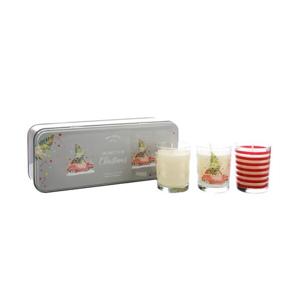 Wax Lyrical Votive Candle Tin Home For Christmas- Set of 3