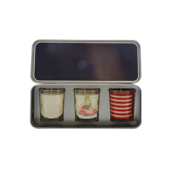Wax Lyrical Votive Candle Tin Home For Christmas - Set of 3 Inside