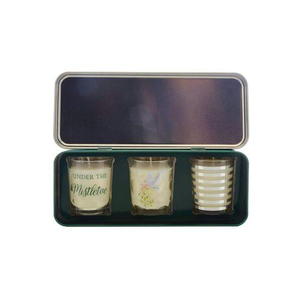 Wax Lyrical Votive Candle Tin Under The Mistletoe -Set of 3 Inside