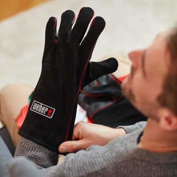 Weber BBQ Leather Gloves in use