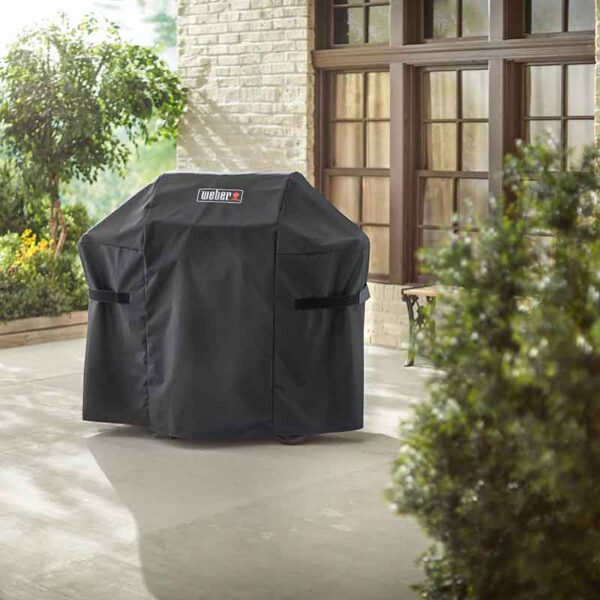 Weber Premium Barbecue Cover for Spirit 200 or Spirit II 200 Series BBQs in use