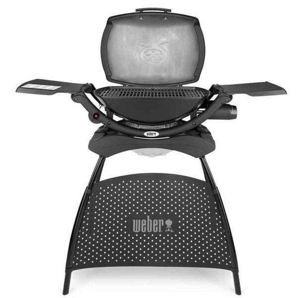 Weber Q 2000 Gas Barbecue with Stand with lid open