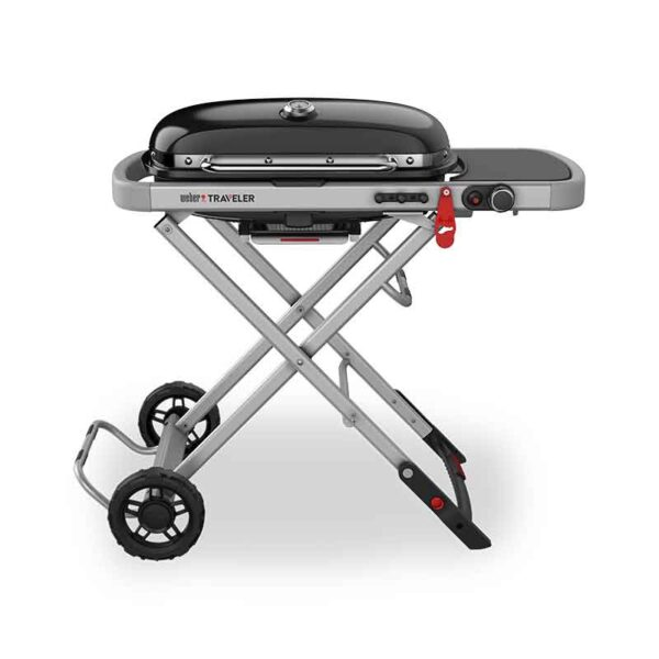 Weber Traveler Gas Grill Barbecue with Travel Cart