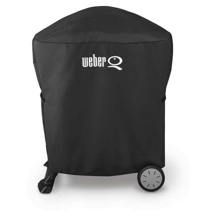 Weber Barbecue Grill Premium Cover for Q 100 / 1000 / 200 / 2000 with stand or portable cart (Black)