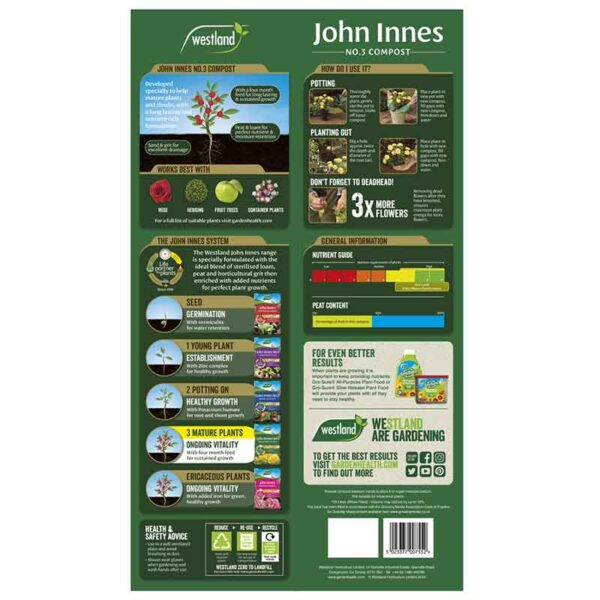 Westland John Innes No.3 Mature Plant Compost information
