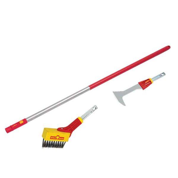 Wolf Garten multi-change Weeding Brush, Garden Scraper & Large Aluminium Handle Set