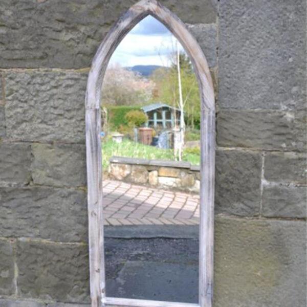 Woodlodge St Johns Gothic Wooden Garden Mirror lifestyle