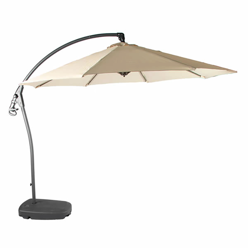 Open canopy of Bramblecrest Gloucester 3m Round Sand Side Post Parasol with Sand Protective Cover