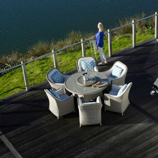 Bramblecrest Monte Carlo 6 Seat Dining Set with 140cm Round Table