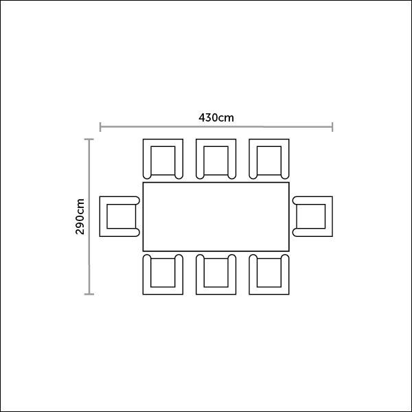 Bramblecrest Kuta Table & 8 Oakridge Armchairs Footprint