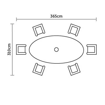 Bramblecrest Ascot 6 Seat Garden Dining Set Plan