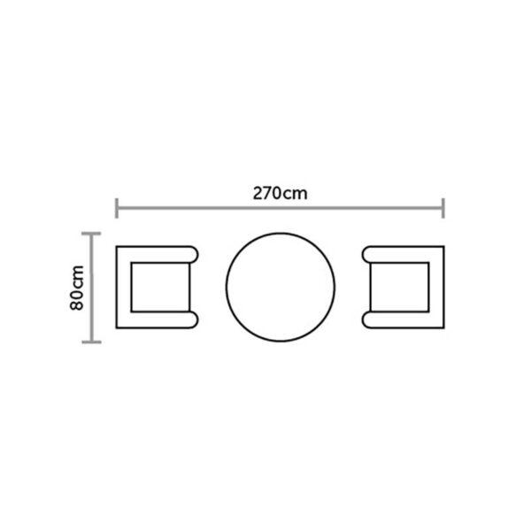 Bramblecrest Ascot Bistro Set with 80cm Table Floorplan