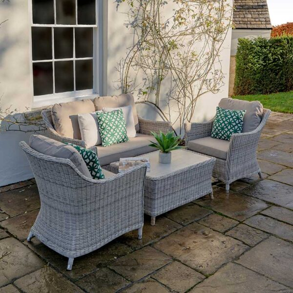 Bramblecrest Ascot 2 Seater Sofa with 2 Sofa Armchairs & Coffee Table with Glass Top