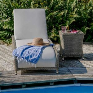 Bramblecrest Monte Carlo Reclining Sun Lounger with Coffee Table