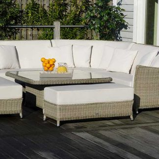 Bramblecrest Monte Carlo Modular Sofa with Square Adjustable Casual Dining Table & 2 Benches