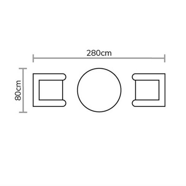 Bramblecrest Oakridge 80cm Round Bistro Table Set Footprint