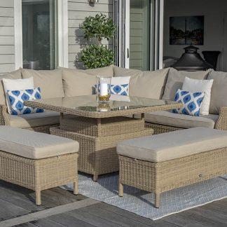 Bramblecrest Oakridge Reclining Modular Sofa Set with Adjustable Table
