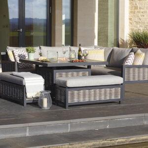 Bramblecrest Portofino Wicker Modular Sofa with Square Ceramic Top Firepit Table & 2 Benches