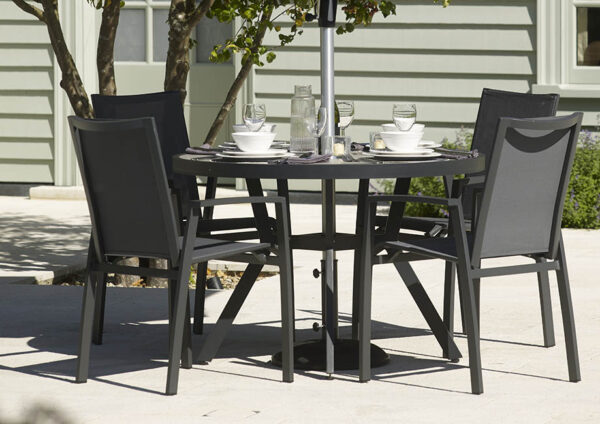 Bramblecrest Seville 4 Seater Dining Set with 110cm Diameter Table