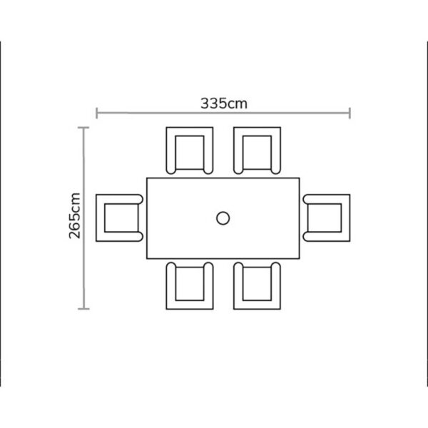 Bramblecrest Seville Rectangular Dining Table with 6 Textilene Armchairs Footprint