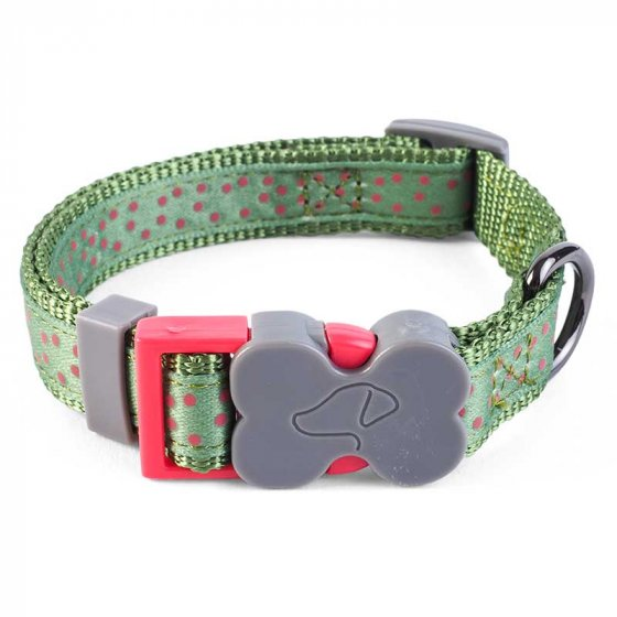 Zoon Walkabout Dog Collar - Green Polka