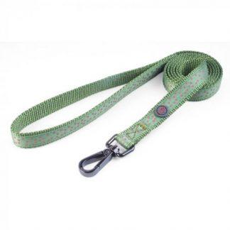 Zoon Walkabout Dog Lead - Green Polka