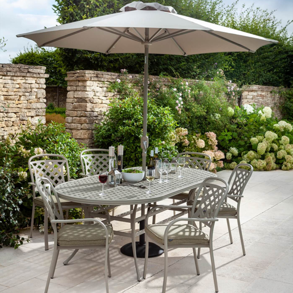 Hartman Berkeley 6 Seat Oval Garden Dining Set with 3m Parasol & 15kg Base (Maize & Wheatgrass)