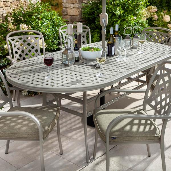 Close up of Hartman Berkeley 6 Seat Oval Garden Dining Set