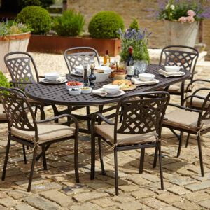 Hartman Berkeley 8 Seat Metal Dining Set in Bronze