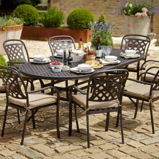 Hartman Berkeley 8 Seat Oval Garden Dining Set with 3m Parasol & Base (Bronze with Dune Cushions)