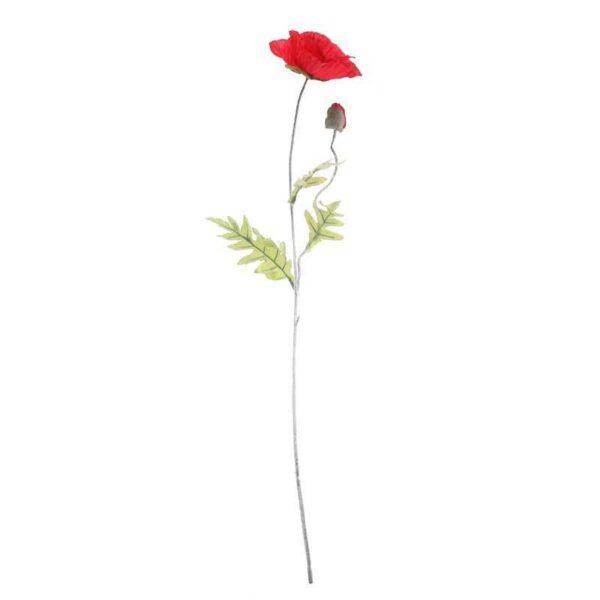 Large Red Poppy Stem (72cm)