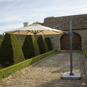 Bramblecrest Chichester 3m Round Side Post Parasol in Sand with Granite Base