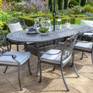 Hartman Capri 6 Seat Oval DIning Set Antique Grey