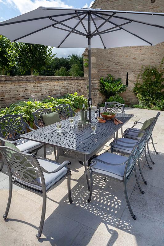 Capri 8 Seat Rectangular Dining Set Antique Grey And Platinum Shade