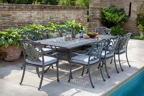 Capri 8 Seat Rectangular Dining Set Antique Grey And Platinum without Parasol and base