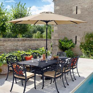 Capri 8 Seat Rectangular Dining Set Bronze And Amber