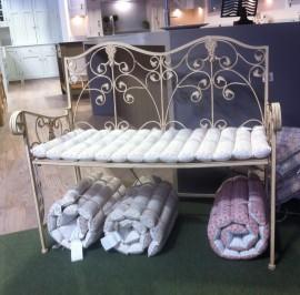 cream metal bench