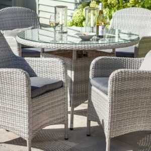 Hartman Curve 4 Seat Dining Set with Round Table