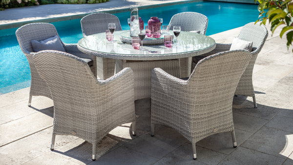 CURVE 6 SEAT ROUND DINING SET WITH LAZY SUSAN COOL GREY