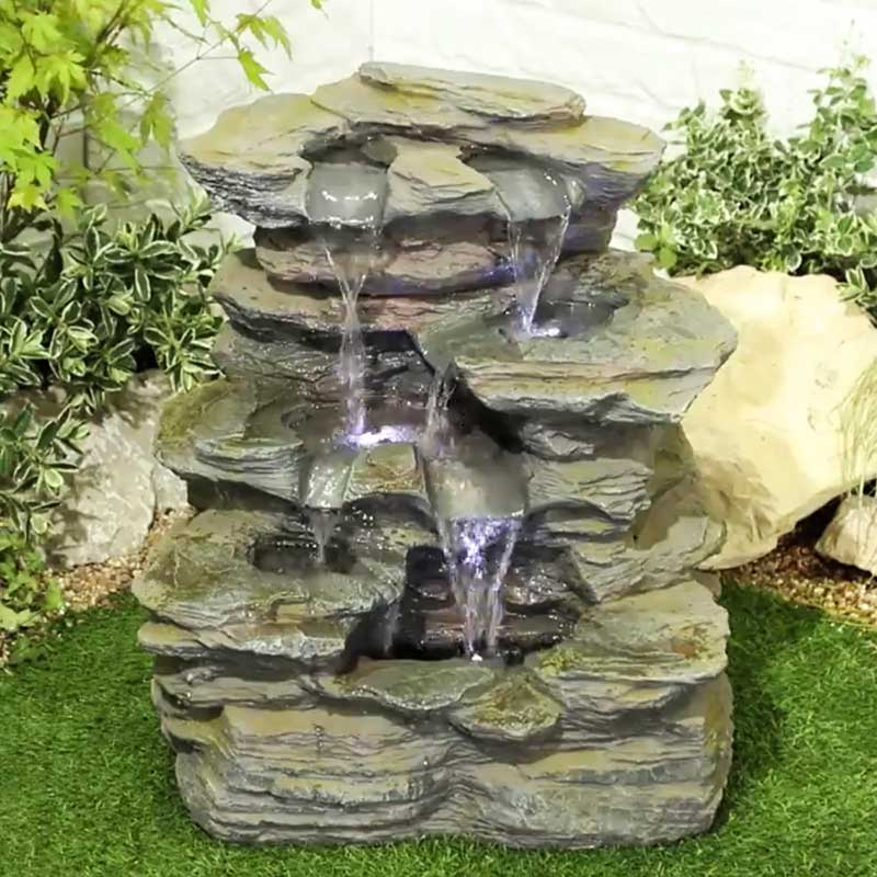 Kelkay Como Springs Water Feature With Led Lights At Gates