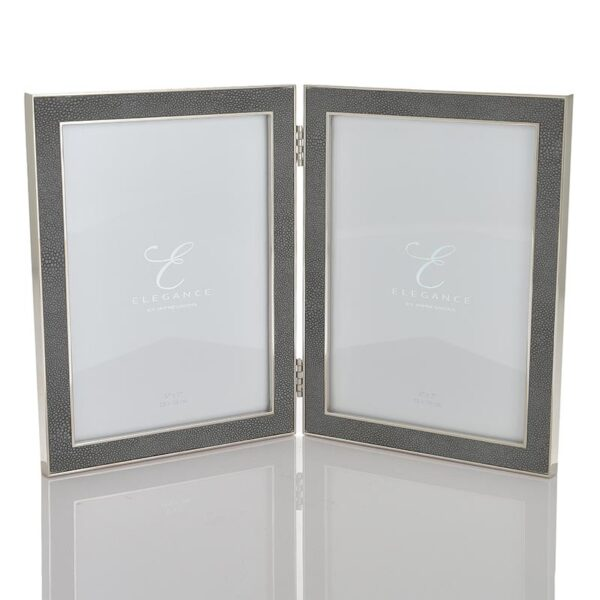 fs78957 Elegance Hinged Grey Shagreen Double Photo Frame
