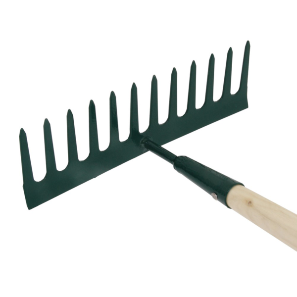 Strong tines on the Wilkinson Sword Carbon Steel Garden Rake #1111206WR (Close up)