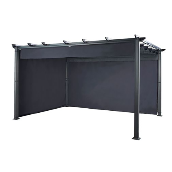 Hartman Roma Rectangular Pergola with Curtain Pack 4m x 3m Grey