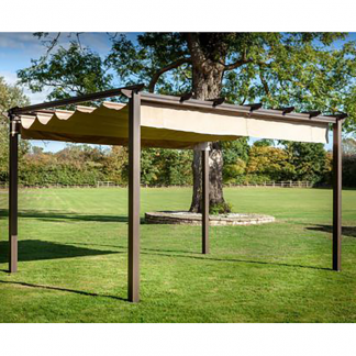 Hartman Roma Rectangular Pergola with Curtain Pack 4m x 3m – Bronze/Caramel