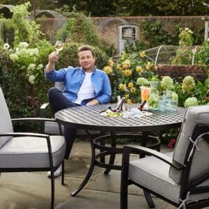 Jamie Oliver 4 Seat Firepit Set in Riven / Pewter