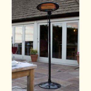 La Hacienda Black Standing Quartz Heater in use
