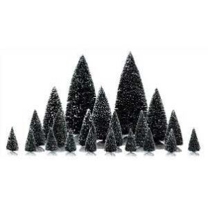 Lemax Set of 21 Assorted Pine Trees