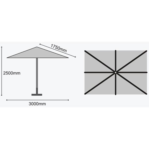 Dimensions for Sturdi Plus 3m x 2m Aluminium Rectangular Parasol