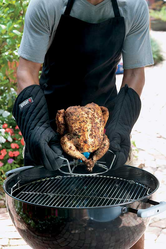Make beer can chicken with a Weber Poultry Roaster