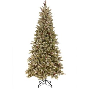 National Tree Dunhill Fir Slim Hinged Tree with Snow & Red Berries (7.5ft)